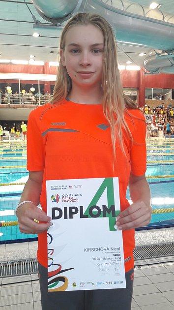 Nicol Kirschová zplaveckého oddílu TJ Loko UP GROUP Trutnov byla čtvrtá na dětské olympiádě.