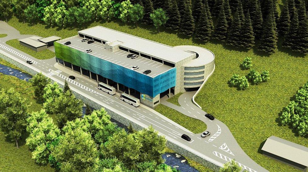 Hotový projekt dopravního terminálu u čerpací stanice v Peci pod Sněžkou je závislý na příjem dotací.