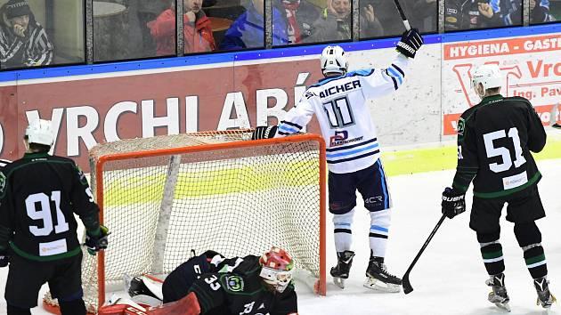 První dva druholigové góly vsítil v sobotním utkání vrchlabský odchovanec Radim Šlaicher.