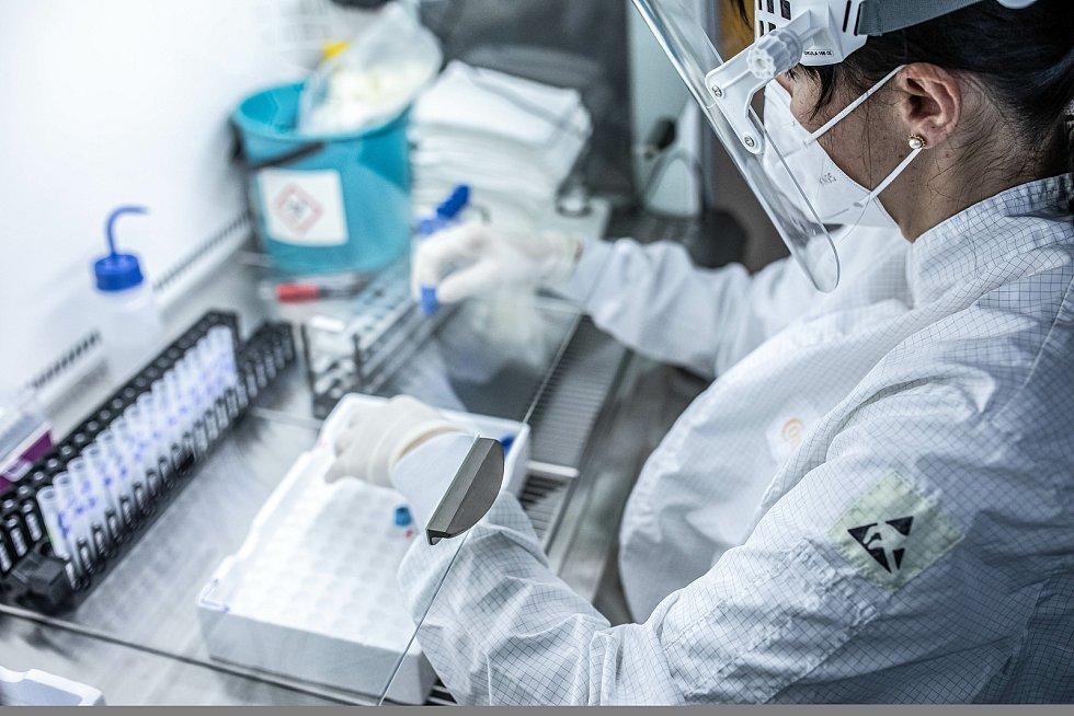 Mikrobiologická laboratoř vtrutnovské nemocnici zpracovává vzorky na covid-19.
