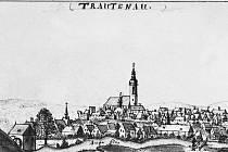 STŘEDOVĚKÝ HRAD (zámek) v  Trutnově  je vidět na vedutě města od F. B. Wernera z 18. století.