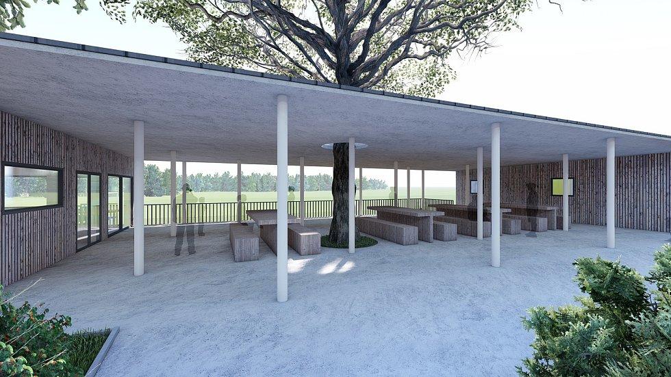 Vizualizace nového zázemí fotbalového stadionu TJ Baník Žacléř, který letos slaví 100 let.