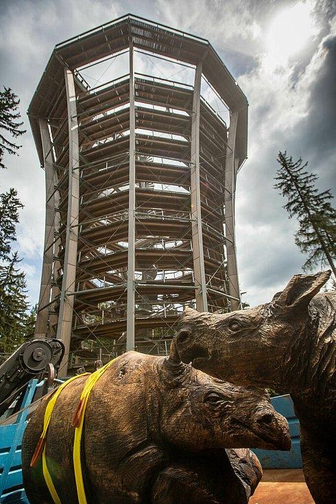 Od minulého úterý figurují u Stezky korunami stromů Krkonoše v Janských Lázních dva dřevění nosorožci jako symbol zoo, příští rok se objeví v safari parku na oplátku vyhlídková věžička, připomínající Stezku. Obě organizace spojily síly při propagaci.