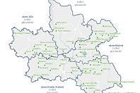 Mapa obcí v Královéhradeckém kraji, které na dotaci dosáhly.