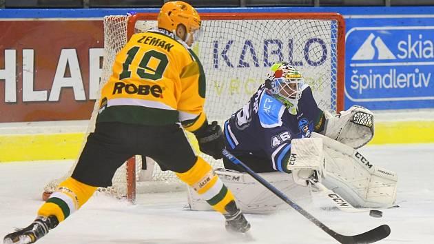 Vrchlabští hokejisté v pátém utkání čtvrtfinálové série play off přehráli Vsetín 6:2.