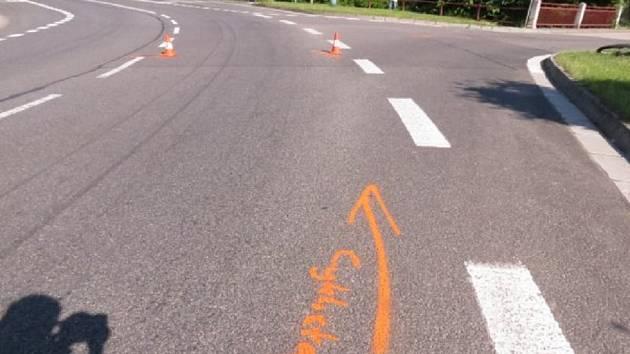 Místo střetu auta s cyklistou v Úpici.