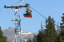 Jarní údržba lanovky na Sněžku