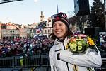 Olympijský medailista v biatlonu Michal Krčmář a Eva Samková dorazili do Vrchlabí oslavit stříbrnou a bronzovou medily. Po návratu ze zimních olympijských her v korejském Pchjongčchangu.