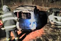 Požár auta ve Špindlu