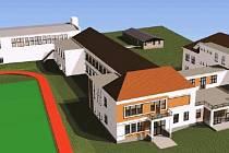 ZÁKLADNÍ ŠKOLA V BÍLÉ TŘEMEŠNÉ se dočká zcela nové přístavby. Vizualizace představuje, jak by měla vypadat. Obec přistaví budovu zcela vpravo a propojovací objekt.