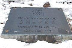 Vrchol nejvyšší české hory Sněžky.