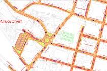 Návrh kruhové křižovatky u zdrávky v Trutnově.