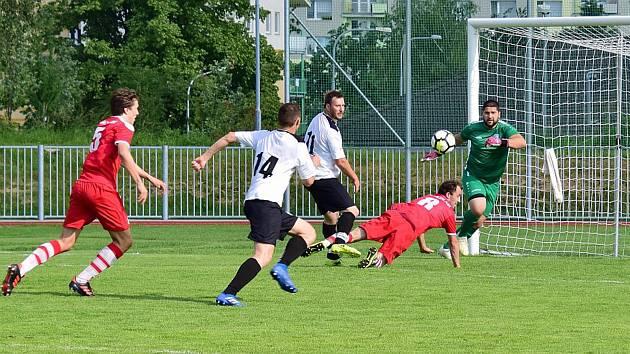 Z utkání fotbalového krajského přeboru Rychnov nad Kněžnou - Vrchlabí.