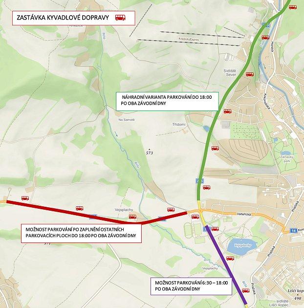 Na trase zVrchlabí do Špindlerova Mlýna budou pendlovat vpatnáctiminutových intervalech speciální autobusy. Odstavná parkoviště pro automobily budou zřízena včásti Vejsplachy.
