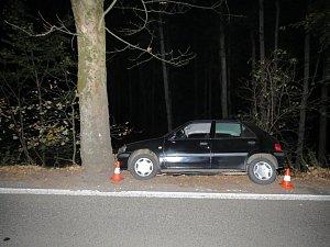 Víkend podnapilý řidič ukončil nárazem do stromu.