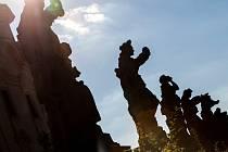 Sochy zobrazující alegorie Ctností a Neřestí v Kuksu.
