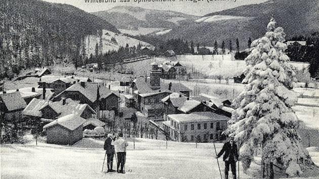 Zimní nálada v centru Špindlerova Mlýna.