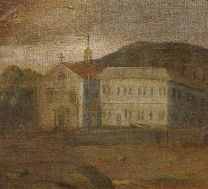 Františkánský klášter s jednolodním kostelem, olejomalba 1688.