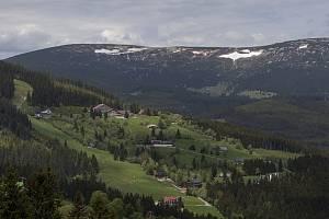 Sněhové pole známé jako Mapa republiky na úbočí Studniční hory ve východních Krkonoších.