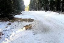 I NEJLEPŠÍ PROSTORY jsou pro běh nedostačující. Vrstva sněhu tvoří ledový povrch, na mnoha místech není sníh vůbec.