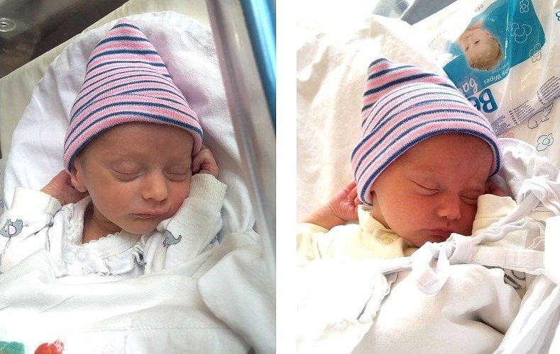 ZUZANA A PAVEL MERBSOVI se narodili 18. dubna v 8.22 a 8.24 hodin rodičům Zuzaně a Pavlovi. Měřili 47 cm a vážili 2,7 a 2,27 kg. Rodina má domov v Hořičkách.