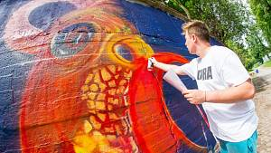Graffiti Jam v Trutnově za vlakovým nádražím