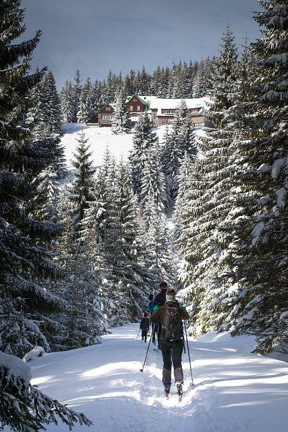 Správa Krkonošského národního parku organizovala pro zájemce desetikilometrový výlet na sněžnicích. Dozvěděli se při něm také olavinách.