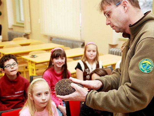 Pracovník Správy Krkonošského národního parku s ježkem ve škole v rámci projektu Bodlinka.
