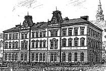 BUDOVA AKADEMIE z roku 1909. Na dochovanou historickou perokresbu naváže nový architektonický výraz.