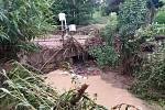 Následky povodně v Dubenci na Královédvorsku.
