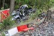 Rychlík smetl auto na přejezdu v Bílé Třemešné