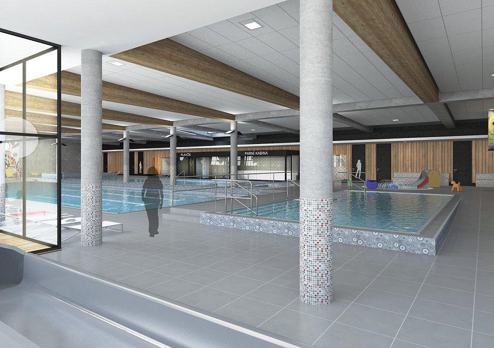 Takhle má vypadat podle vizualizace krytý bazén ve Vrchlabí. Jeho součástí budou čtyřdráhový plavecký bazén, cvičný bazén, relaxační bazén, vnitřní i venkovní vířivky, šedesátimetrový tobogán, skluzavky nebo parní kabiny.