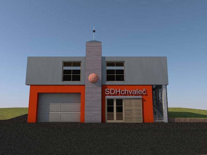 Vizualizace nové hasičské zbrojnice v Chvalči.