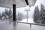 Lanovka na Sněžku - mezistanice na Růžové hoře.