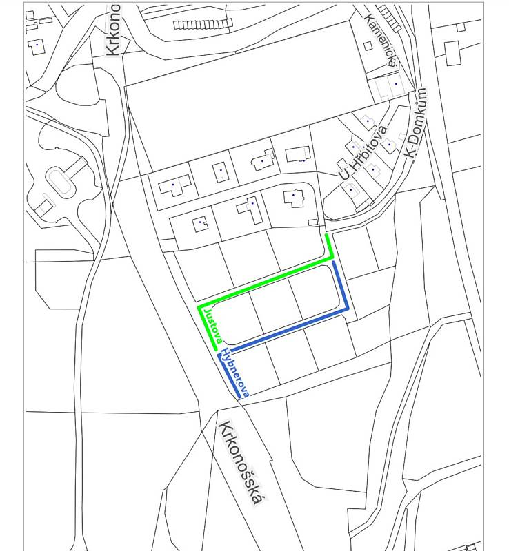 Nákres nových dvou ulic v Trutnově, které se budou jmenovat Justova a Hybnerova.