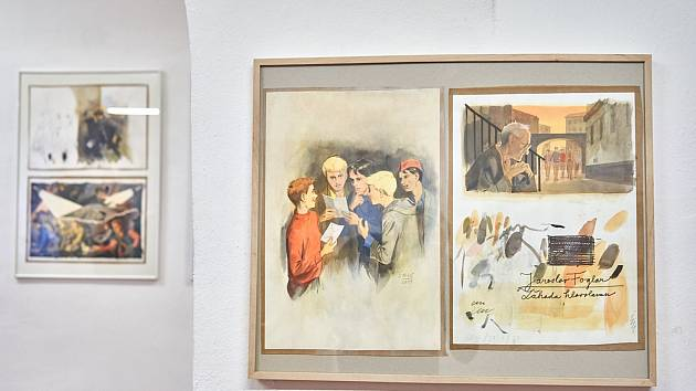 Z vernisáže výstavy Ateliér Jiřího Gruse v Galerii města Trutnova.