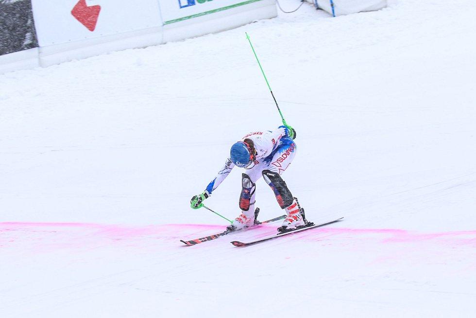 Husté sněžení provází sobotní slalom Světového poháru ve Špindlerově Mlýně, diváků je ještě více než při pátečním obřím slalomu.