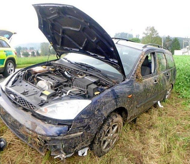 Havárie vozu při Batňovicích.