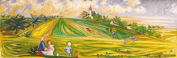 VČERVNU (KRAJ) je zásadní zásadní panoramatický olej Josefa Čapka ztěžkého předválečného roku (rozměr 51x 150cm).