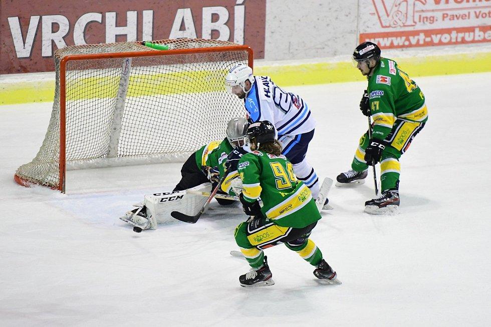Vrchlabským hokejistům na výhru nad rivalem ze Dvora Králové nad Labem stačily tři vstřelené branky.