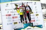 Tereza Voborníková (vlevo) na stupních vítězů společně s vítěznou Švýcarkou Amy Basergaovou a třetí Norkou Maren Bakkenovou