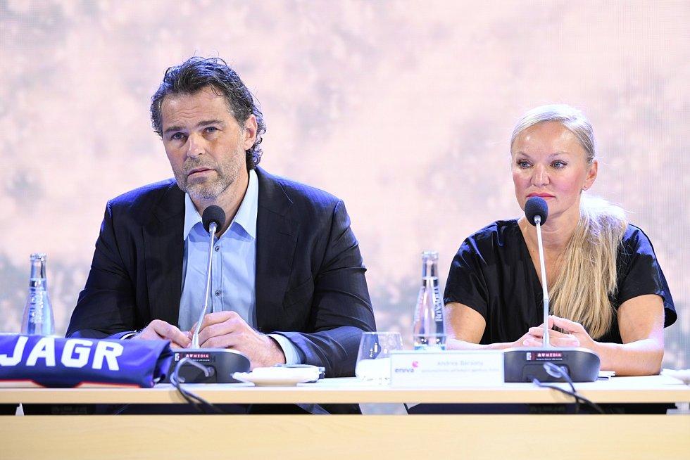 Jaromír Jágr na tiskové konferenci v úterý 21. července k Winter Classic ve Špindlerově Mlýně.