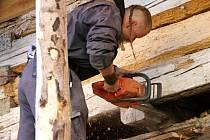 ODBORNÍ TESAŘI prováděli během loňského podzimu na záchraně roubeného domu ve Vrchlabí  práce tradičními technologiemi.