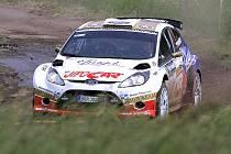 Rally Krkonoše 2010: rychlostní zkouška Kryblická, ve Starém Rokytníku.