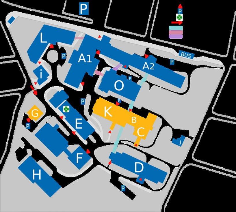 Plán areálu trutnovské nemocnice. Rekonstrukce se týká žlutě vyznačených objektů.