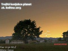 Nad západním obzorem můžete spatřit vzácné seskupení planet