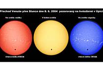 PŘECHOD VENUŠE PŘES SLUNCE pozorovali pracovníci úpické hvězdárny také 8. června 2004.