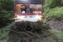 Silný vítr kácel stromy. Jeden spadl na koleje.