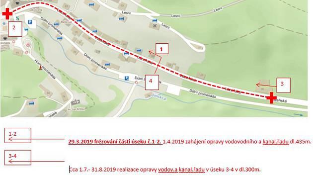 Od 29. března do 31. října bude úplně uzavřena silnice v Janských Lázních mezi odbočkou k Vesně (pod Garážemi) a náměstím u Janského dvora (k cukrárně).