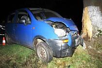 Opilý bez řidičáku narazil do stromu